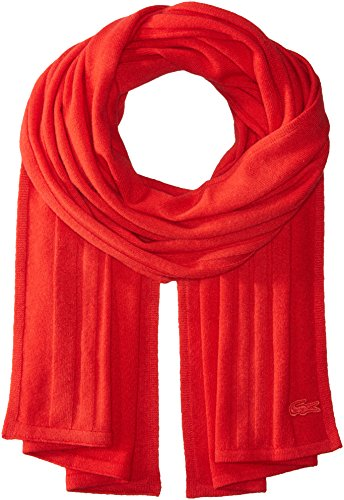 Lacoste Women's Cashmere Scarf, cherry red, One Size by Lacoste