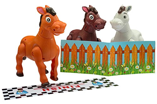 Six21 Toys 7-Inch Musical Galloping Horse and Ponies Bundle Package - Finish Line, Grazing Fence, and Batteries Included - White, Tan, Brown