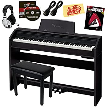 Casio Privia PX-760 88-Key Digital Piano Bundle with Gearlux Furniture-Style Bench, Austin Bazaar Instructional DVD, Two Gearlux 1/4-Inch Instrument Cables, Instructional Book, Headphones, and Polishing Cloth - Black