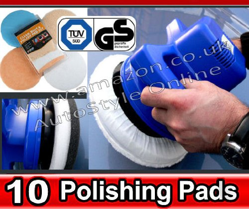 10' Orbital Professional High Power Blue Electric Car Buffer Polisher & Polishing Buffer Pad Set Kit AutoBL
