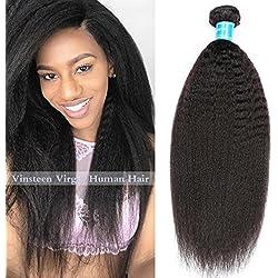 Vinsteen 8A Human Hair Weaves 1 Bundles Kinky Straight Unprocessed Brazilian Human Virgin Hair Weft Peruvian Hair Extensions 100g Natural Color (18'')