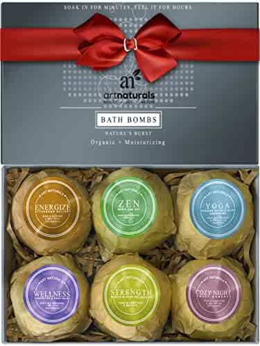 ArtNaturals Bath Bombs Gift Set - (6 x 4 Oz) - Ultra Essential Oil - Handmade Spa Bomb Fizzies - Natural Shea Butter for Moisturizing Dry Skin - Aromatherapy Relaxation in a Box