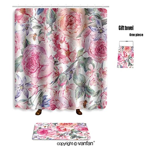 vanfan bath sets with Polyester rugs and shower curtain vintage garden watercolor spring seamless bac shower curtains sets bathroom 69 x 75 inches&31.5 x 19.7 inches(Free 1 towel and 12 hooks) Iron Ceiling Medallions