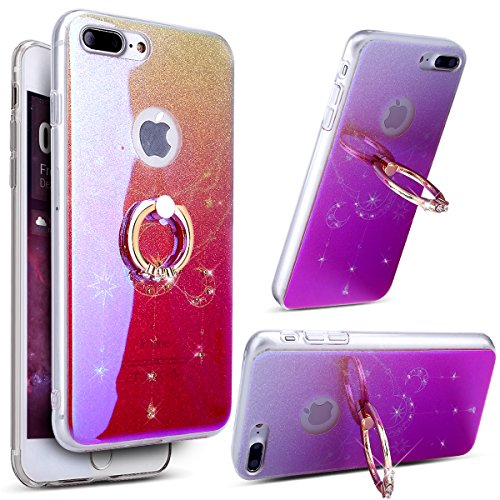 Price comparison product image iPhone 8 Plus Case, iPhone 7 Plus Case, ikasus [Diamond Ring Stand] Gradient Color Bling Glitter Sparkle Diamond Rhinestone TPU Rubber Silicone Back Case Cover for iPhone 8 Plus / 7 Plus, Moon Star