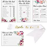Set of 4 Vintage Watercolor Flower Themed Bridal Shower Game Card Packs with White and Gold Satin ''Bride to Be'' sash. - 5.5 x 8.5 Inches - 50 Sheets Each Game (200 Total)