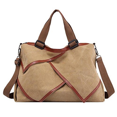 Canvas Messenger Everpert Irregular Totes Shoulder Big Capacity Women Handbag Camel Travel pq0wp