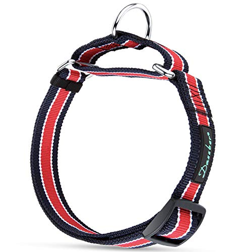 Dazzber Safety Training Martingale Dog Collar, Color Stripe, Neck 20-30, Extra Strong, No Pull No Choke, Recommend for Large XLarge Dogs (Red)