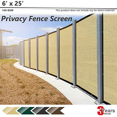 BOUYA Beige Privacy Fence Screen 6' x 25' Heavy Duty for Chain-Link Fence Privacy Screen Commercial Outdoor Shade Windscreen Mesh Fabric with Brass Gromment 160 GSM 88% Blockage UV -3 Years Warranty
