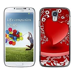Paccase / SLIM PC / Aliminium Casa Carcasa Funda Case Cover - D red heart - Samsung Galaxy S4 I9500