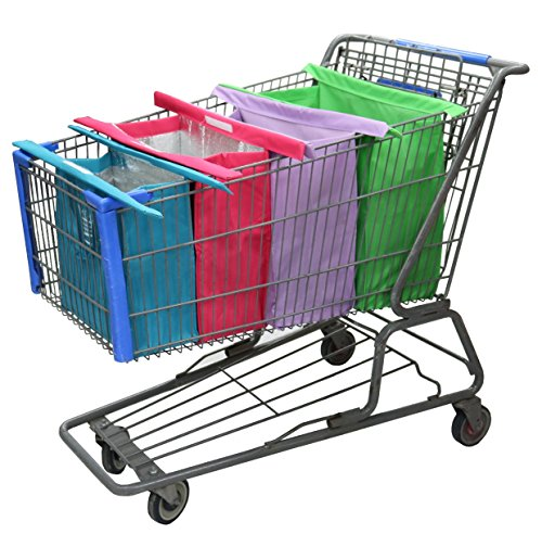 Reusable Trolley Shopping Cart Bags with Insulated Grocery Bag Lining by Modern Day Living (Cart That Folds Flat)