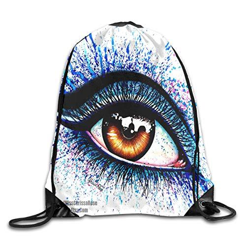 (HUVATT Drawstring Bag Signed Art Print Colorful Eye Womens Gym Backpack Designer Mens Travel Canvas Bags for Youth )