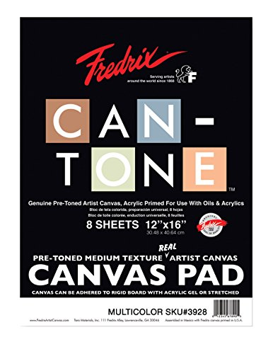 Fredrix Can-Tone Canvas Pads, Multicolor, 12 x 16 Inches, 8 Sheets