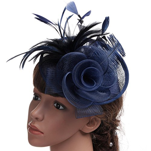 POPOOL PPLM19 Womens Feather Floral Organza Fascinator with Headband Hair Clip (Navy)