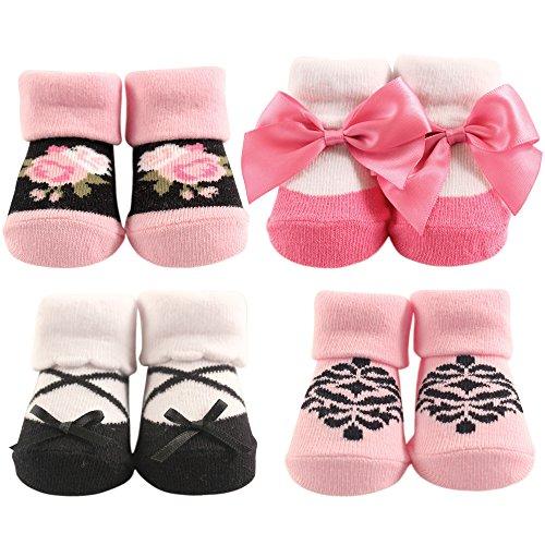 Hudson Baby Sock Set 4-Pair, Floral, Light Pink, 0-9 Months