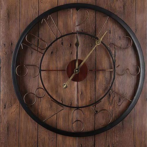(SNQKMLEP European Retro Creative Round 18 Inch Silent Wall Clock, Roman Wrought Iron Clock, Cafe Izakaya Villa (Color : -, Size : -))