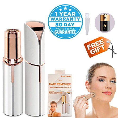 Facial Painless Hair Removal Epilator for Women Included 1 X AA Battery Mini Lipstick Hair Razor Face Remover Replacement Head Bikini Trimmer for Chin Cheek Lip Eyebrow by Great Home