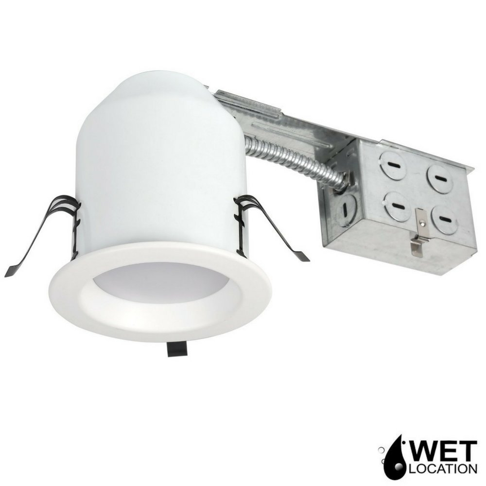 Four Bros 4'' Inch LED Remodel LED Recessed Light Kits, IC Rated Remodel Housing and Dimmable LED Downlight, Damp Rated, 10W, 750lm, 5000K (Daylight), ETL Listed