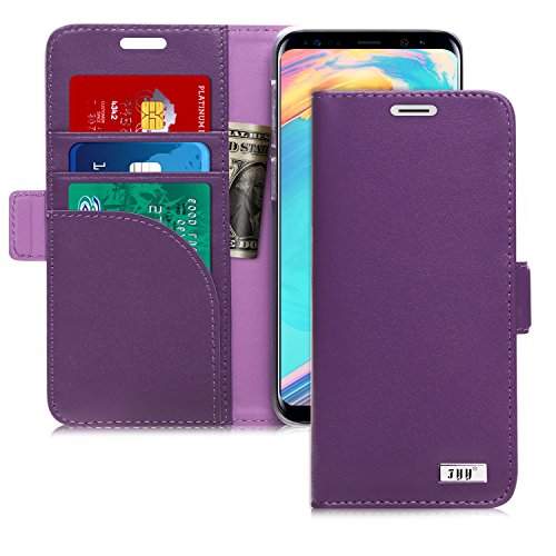 FYY [Genuine Leather] Wallet Case for Samsung Galaxy S9 2018, Handmade Flip Folio Wallet Case with Kickstand Card Slots Magnetic Closure for Samsung Galaxy S9 2018 Purple