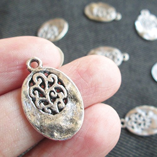 10 Piece Antique Silver Angel Oval Tibetan Style Tree of Life Charm Vintage Style Supplies (NS088) (Silver Tree Tibetan)