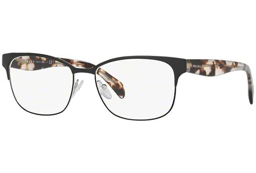 2b7adf2d804 Prada PR65RV Eyeglass Frames 7AX1O1-55 - Black Silver PR65RV-7AX1O1 ...