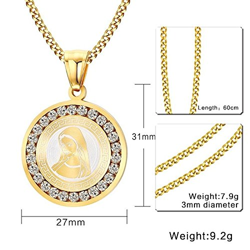KassarinShop Fashion Gold Christian Blessed Virgin Mary Diamond-set Pendant Necklace Jewelry