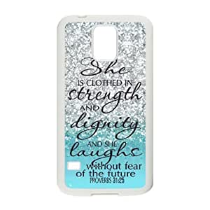 SamSung Galaxy S5 SV Case -Samsung Galaxy S5 SV Case Cover - She is Clothed with Strength & Dignity She Laughs without Fear of the Future Proverbs 31:25 - Bible Verse Blue Sparkles Glitter Samsung Galaxy S5 SV TPU (Laser Technology) Case Rubber Sides
