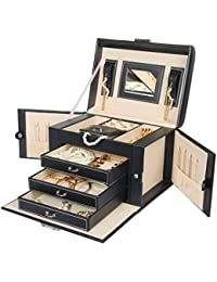 Jewelry Box Necklace Ring Storage Organizer Synthetic Leather Large Jewel Cabinet Gift Case (Black)