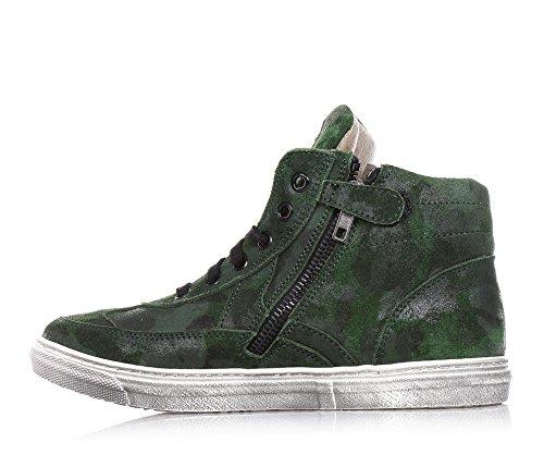 4US -Camouflage Sneakers mit Schnürsenkel, aus Wildleder, seitlich ein Logo ton in ton, Unisex, Jungen, Mädchen