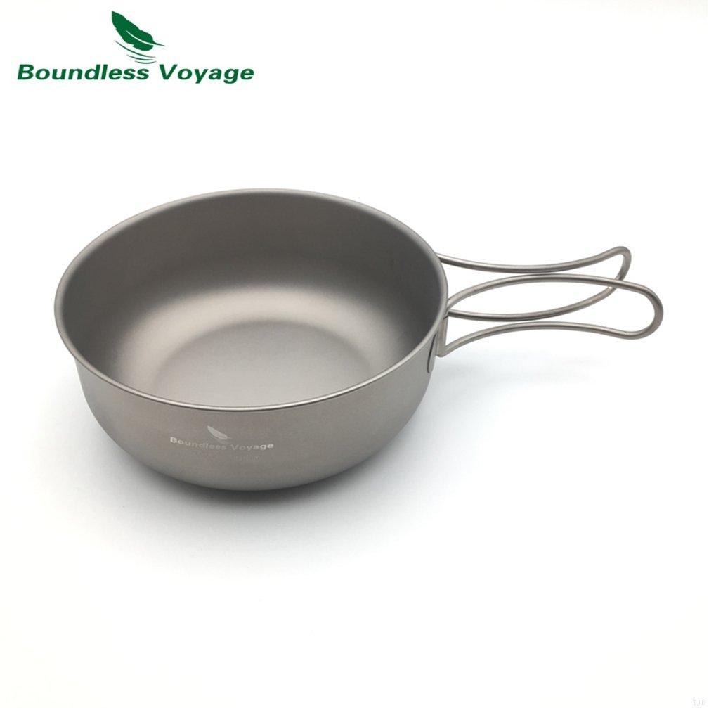 TJBGADIEMS Outdoor Ultralight 80.3g Titanium Bowl Cookware Picnic Camping Bowl Ti1574B(650ML ) by TJBGADIEMS