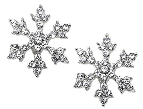 Sparkling Crystal Snowflake Stud Earrings Christmas Winter Bridal Fashion Jewelry (Silver) (Earrings Winter Snowflake)