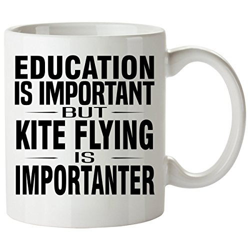 KITE FLYING Mug 11 Oz - Good for Gifts - Unique Coffee Cup Decal Figure