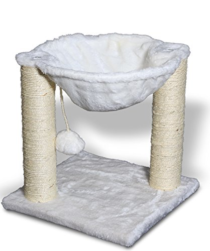 OxGord-12x12x13-Cat-Tree-House-wScartching-Post-Tower-Hammock-Bed-and-Pet-Toy-Ball-Multi-2-Level-White