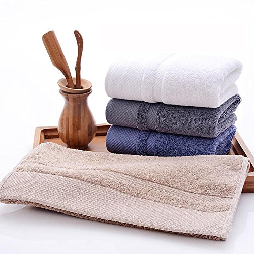 HONEYJOY 4 Pack Soft Luxury Hand Towels Set Hotel and Spa Quality 100% Ring Spun Genuine Cotton Towel, Multipurpose Use for Face, Bath, Gym, Spa, Family (White Grey Blue Khaki, 13.38 x 29.5 Inches) by HONEYJOY (Image #1)