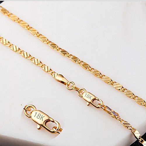 NiceWave Hot 18K Gold Plated Thin Link Flat Chain Necklace Women Men Fashion Jewelry 20'' EW sakcharn Beautiful jewelry by NiceWave (Image #6)