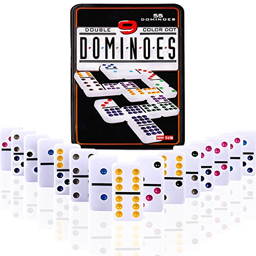 Color Domino Rally Games, DOUBLEFUN Double 9 Color Dot Dominoes Set Domino Rally Table Games with Iron Box, 55 (Jumbo Domino Dots)