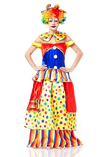 Gras Costume For Mardi Guys Ideas (Adult Women Clown Entertainer Costume Comedian Role Play Comic Actress Dress Up (X-Small/Small, Yellow, Red, Blue, Green, White,)