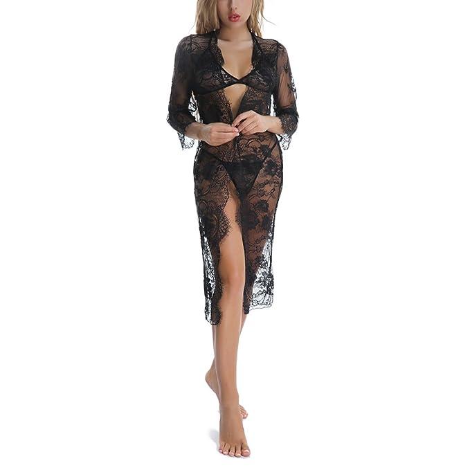 COUXILY Mujer Conjuntos de Lencería Mujer Erótico Rncaje Atractivo Ropa de Dormir Batas (Negro,