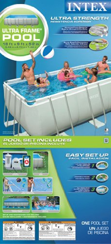 Intex 54481EG 9-Feet by 18-Feet by 52-Inch Ultra Frame Rectangular Frame Pool Set, Appliances for Home