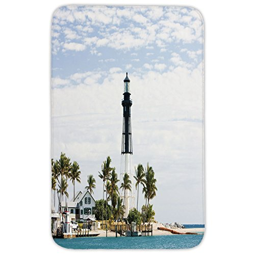 Rectangular Area Rug Mat Rug,United States,Hillsboro Lighthouse Pompano Beach Florida Atlantic Ocean Palms Coast Decorative,Blue White Green,Home Decor Mat with Non Slip Backing