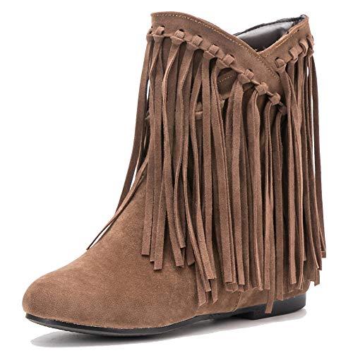 fereshte Women's Suede Tassels Fringe Hidden Wedge Heel Ankle Boots Slip-on Bootie Yellow US7