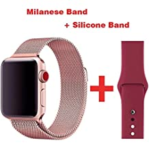 Greatou Band for Apple Watch Series 1 / 2 / 3,Milanese Mesh Stainless Steel Loop Wrist Strap Replacement Band with Adjustable Magnetic Closure & Garnet Red Silicone Band for iwatch,38mm,Rose Gold