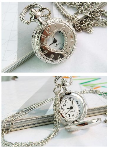 Fashion Heart-shaped digital Silver Pocket Watch Chain Necklace Alloy watches WPH@TGZ142940A