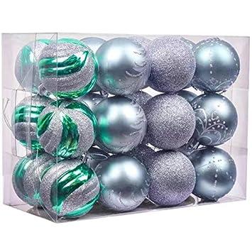 8813cf23540 Valery Madelyn 24 Piezas Bolas de Navidad Azules Verdes y Platas ...