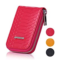 APHISON Womens Leather RFID Blocking Zipper Credit Card Wallet Small Purse