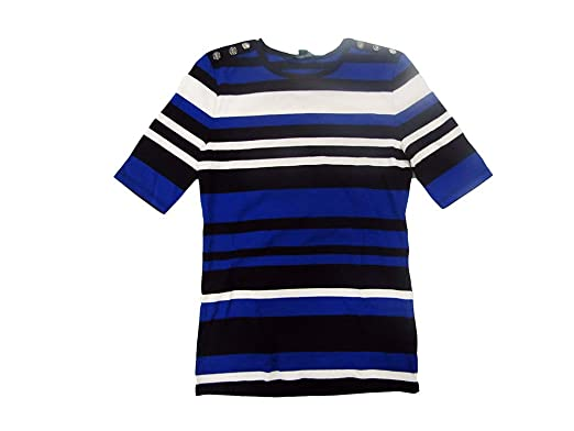 2896efbc Lauren Ralph Lauren Women's Petite Striped Button-Shoulder T-Shirt (Multi,  Petite