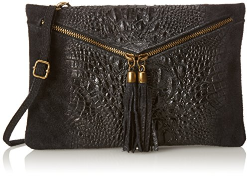 CTM Pochette pour femme, petit sac à epaule en cuir veritable fait en Italie - 29x19x2 Cm Noir (Nero)
