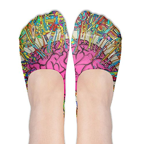 Brain Colored Transmission DIY Printed Pattern Soft Low Cut Socks No-show Liner Invisible Polyester Cotton Sock For Female (One - Wash Brain Mr
