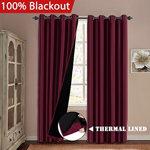(H.VERSAILTEX Complete 100% Blackout Thermal Insulated Faux Silk Lined Curtains Pair Noise Reducing & Energy Saving Window Treatment Grommet Panels for Kids Room, 52