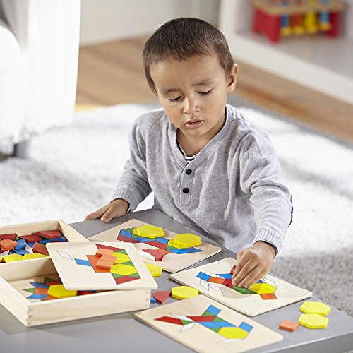 51oal5LYwhL - Melissa & Doug Pattern Blocks and Boards - Classic Toy With 120 Solid Wood Shapes and 5 Double-Sided Panels