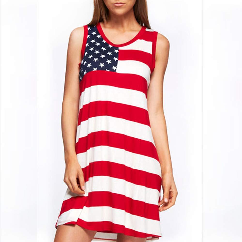 MAYOGO American Flag Spitze Einsatz Damen V-Ausschnitt Tank Tops USA Flagge Shirt /Ärmellos Bluse USA Flagge Sommerkleid Damen Sommer Kleider Amerika Flagge Kleidung